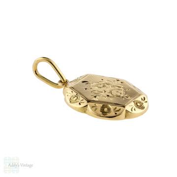 Antique Floral Engraved Pendant, Victorian Conversion 15ct 15k Gold Flower Necklace.