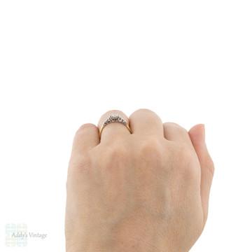Vintage Diamond Solitaire Engagement Ring, Engraved Cascading 18ct & Platinum Setting.