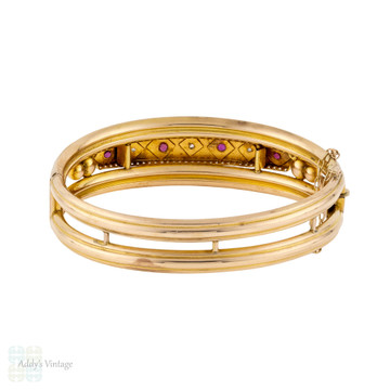 Edwardian Ruby & Rose Cut Diamond Bangle, Antique 9k 9ct Gold Starburst Bracelet.
