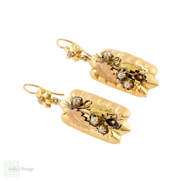 Antique Seed Pearl & Leaf Design Tri-Gold 9ct Gold Earrings. Floral 9k Dangles.