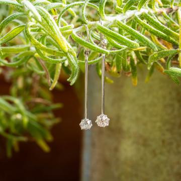 Old Mine Cut Diamond Drop Earrings, 18ct 18k Long Tapered Dangle Earrings.