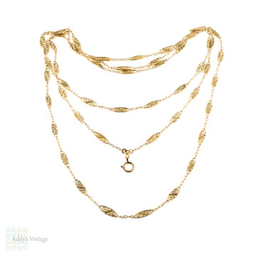 Antique Filigree Link Long Guard Chain, Victorian Gold Filled Layering Necklace, 152 cm / 60 inches.