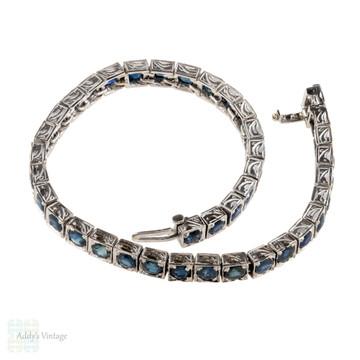 Sapphire 18k Line Bracelet, Vintage 18ct White Gold Engraved Tennis Bracelet.