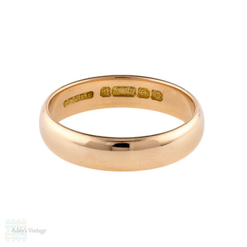 Vintage 9ct Rose Gold Men's Wedding Ring, Classic Art Deco 1930s Band. Size R.5 / 9.