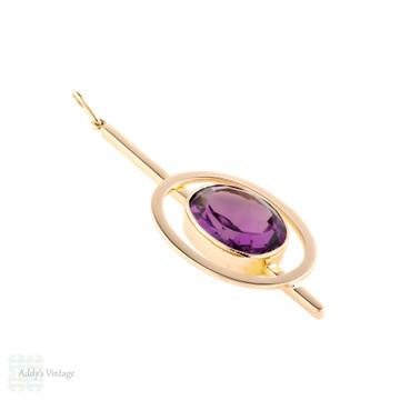 Amethyst Paste 9ct Rose Gold Pendant, Large Purple Bezel Set Art Deco Conversion 9k Necklace.