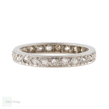 Antique Old Cut Diamond Eternity Ring, Platinum Full Hoop Wedding Band. Size M / 6.25.