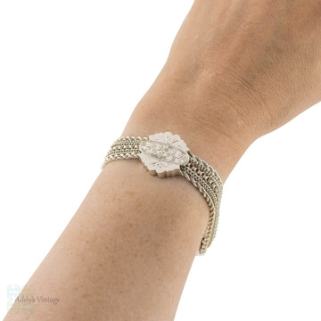 Antique Silver Bracelet, Floral Thistle & Ivy Victorian Sterling Watch Chain with Hook.