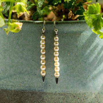 Art Deco Cultured Pearl Drop Earrings, 9ct 9k White Gold Dangle Earrings