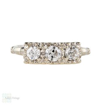 Diamond Three Stone 0.74ctw Engagement Ring, Vintage 14k White Gold 1950s Ring.