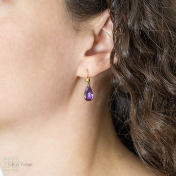 Amethyst Drop Earrings, Antique Pear Shape Pinchbeck Dangles on 9ct 9k Gold Wires.