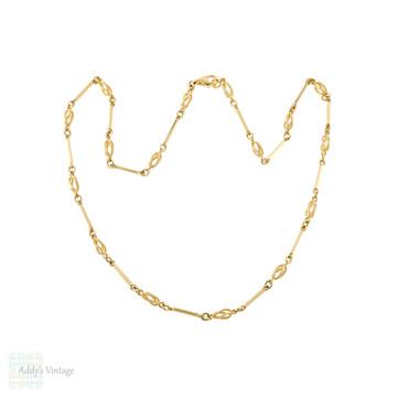 Vintage 9ct Gold Alternating Link Chain, 9k Cage & Bar Design 22 Inch Necklace.