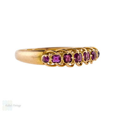 Ruby Half Hoop 15ct 15k Band, Antique 1910s Graduated 7 Stone Rope Edge Ring.