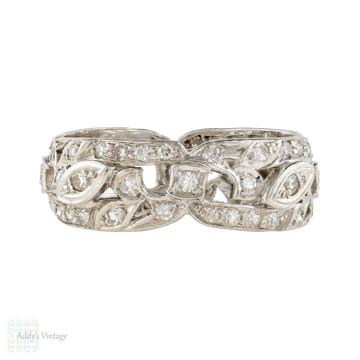 Diamond Eternity Wedding Ring, Vintage Platinum Full Hoop Anniversary Band Size O.25 / 7.25+.