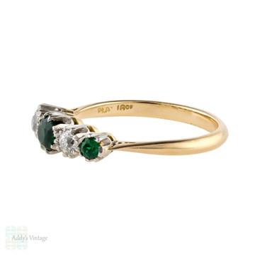 Vintage Diamond & Synthetic Emerald Graduated Five Stone Ring, 18ct & PLAT Circa 1930s.