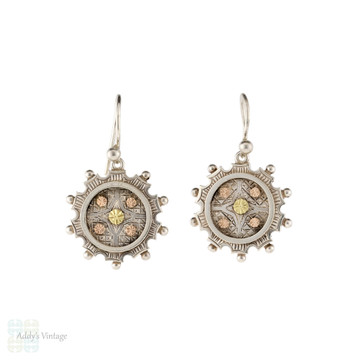 Victorian Engraved Floral Drop Earrings, Antique Sterling Silver & 9k 9ct Dangles.