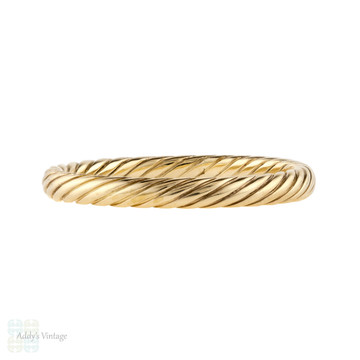 Twisted 9ct 9k Yellow Gold Band, Slender Rope Design Wedding Ring Size S / 9.25