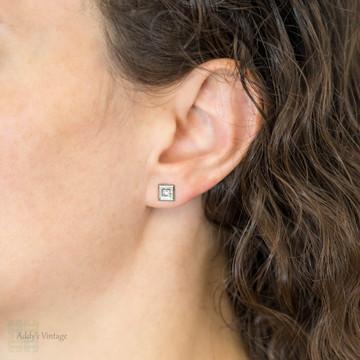 Old Mine Cut Diamond Stud Earrings, 9ct 9k White Gold Engraved Studs.
