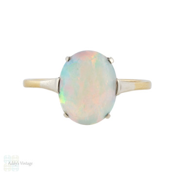 Antique Opal Solitaire Ring, 9ct 9k Yellow Gold & Silver Two Tone Setting Circa 1910s.