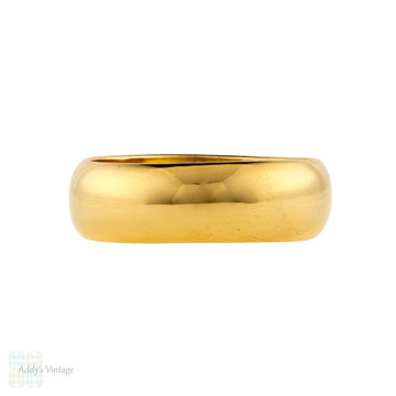 Vintage 22ct Wedding Ring, Men's Heavy Wide 1960s 22k Band, Size R / 8.75.