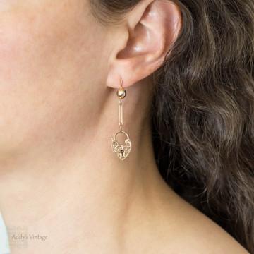 RESERVED Heart Padlock 9ct Earrings, Antique Long 9k Rose Gold Articulated Dangle Earrings.