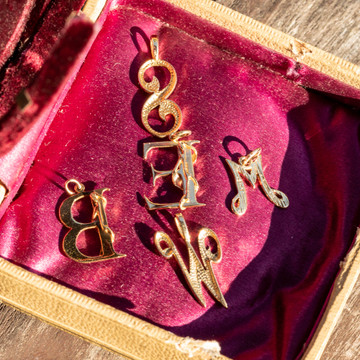 9ct Initial Pendant, Vintage 9k Yellow Gold Letter Charms: B E M S W