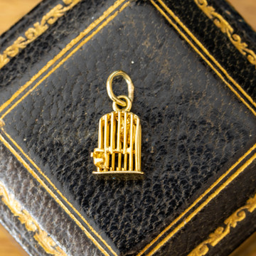 Heart in Cage 14ct Yellow Gold Charm, Miniature Opening 14k  Caged Love Token Pendant.