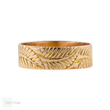 Wide 9ct Victorian Fern Engraved 9k Rose Gold Wedding Band. Size R.5 / 8.75.