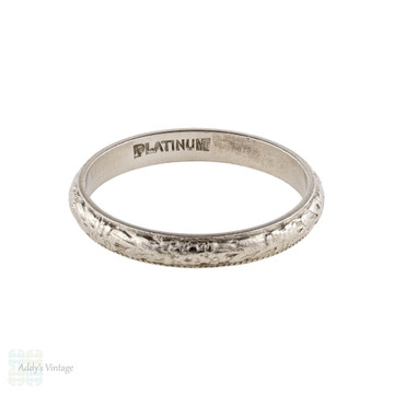 Flower Engraved Platinum Wedding Ring, Vintage Art Deco Flower Band Size L / 5.75.