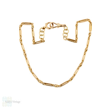 Antique 9ct Rose Gold Chain, 16 inch / 40.5 cm Oblong Trombone Link Necklace 22.7g.