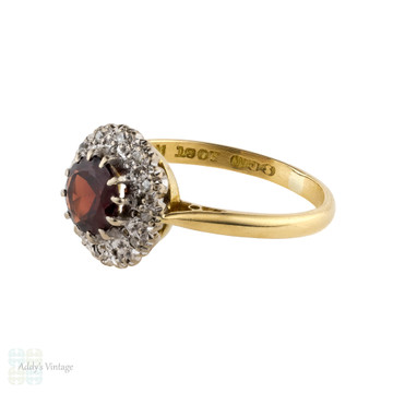Garnet & Diamond Halo Engagement Ring, Vintage 18ct Mid Century Round Cluster Ring.