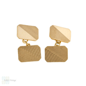 Vintage 9ct Gold Cuff Links, Mid 20th Century Engine Turned Double Faced 9k Cufflinks.
