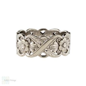 Flower Engraved Wide 14k Wedding Ring, Mid Century Pierced Ribbon Pattern Band Size O / 7.25.