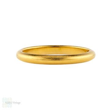 Vintage 22ct Wedding Ring, 1940s Ladies 22k Gold Wedding Band. Size L / 5.75.
