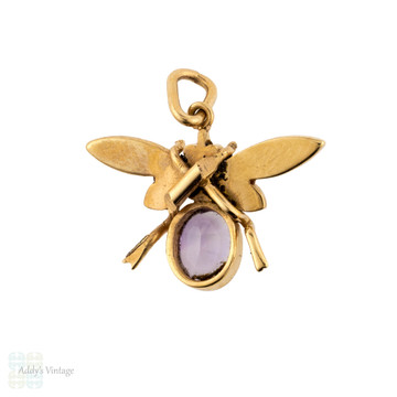 Antique Fly Pendant, Amethyst & Cultured Pearl Bug 9ct 9k Yellow Gold Charm.