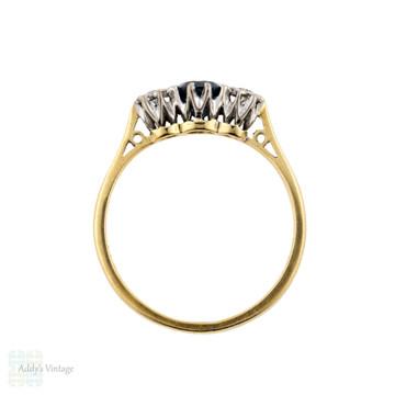 Sapphire & Diamond Three Stone Engagement Ring, 1930s Vintage 18ct & Platinum Ring.