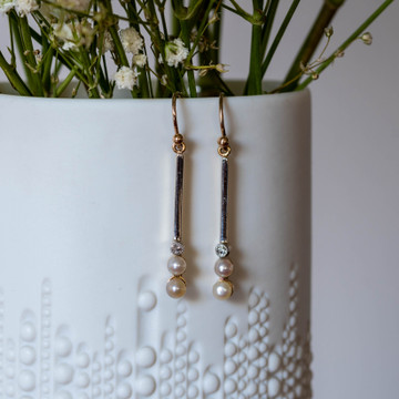 Old European & Cultured Pearl Drop Earrings, Edwardian Converted 15ct & Platinum Dangles.