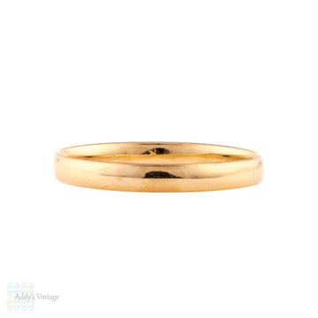 Vintage 22ct Wedding Ring, 1920s Narrow Ladies 22k Gold Wedding Band. Size L / 5.75.