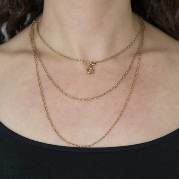 Antique Pinchbeck Long Guard Necklace, Victorian Muff Trace Chain 158 cm / 62 inches.
