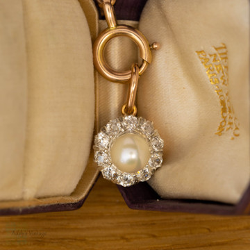 Antique Cultured Pearl & Old Mine Cut Diamond Pendant, 15ct 15k Rose Gold.