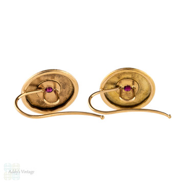Ruby Textured Disc Earrings, Antique French 18ct 18k Converted Drop Earrings.
