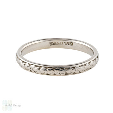 Floral Engraved Platinum Wedding Ring, Antique Slender Ladies Floral Band Size P / 7.75.