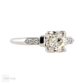1930s Vintage Diamond Engagement Ring, Platinum Art Deco 0.78 ctw Old Cut Diamond Ring.