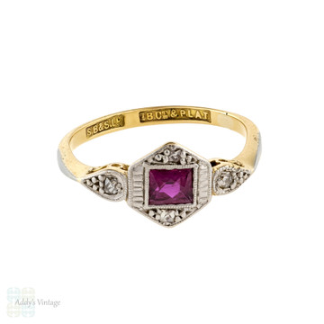 French Cut Ruby & Diamond Engagement Ring, Vintage Art Deco 18ct & Plat Ring.