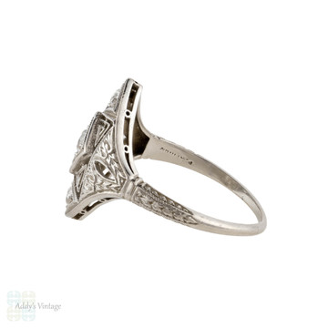 RESERVED Platinum Filigree Old Cut Diamond Cocktail Ring, Art Deco Engraved 1920s Panel Ring.