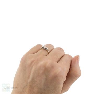 Three Stone Diamond Engagement Ring, Art Deco Classic Two Tone 18ct & Plat.