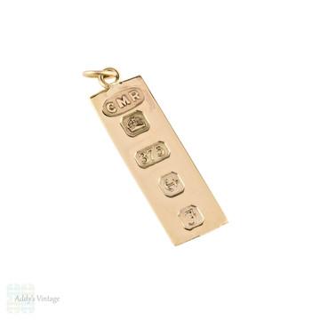 9ct Yellow Gold Vintage Ingot Charm Pendant, 9k 1980 English Hallmarks.