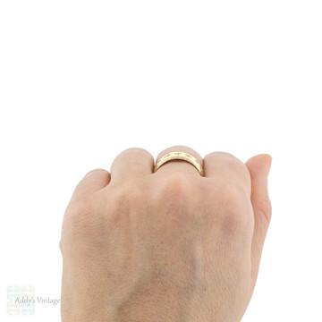 Engraved 9ct Star Men's Wedding Ring, Wide Vintage 9k Yellow Gold Band Size U / 10.