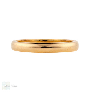 Art Deco 22ct Wedding Ring, Vintage 1920s 22k Gold Mens Band. Size V.5 / 10.75.