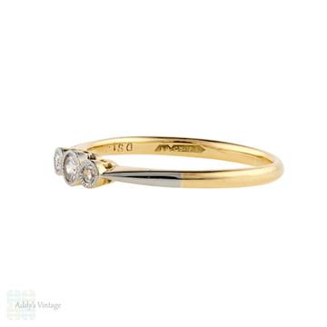 Diamond Three Stone Engagement Ring, Vintage Graduated Bezel Set 18ct & Plat Band.