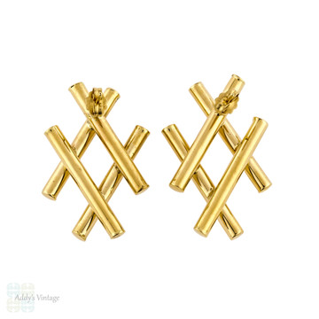 Hashtag Design 14k Yellow Gold Earrings, Large Stylish Hallow Bar 14ct Stud Earrings.